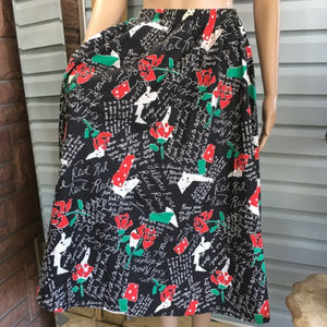 Vintage Roses are Red Print A-Line Skirt